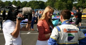 YRC's Fulvio Mussi is interviewed by motorsports broadcaster Louise Goodman
