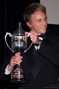 Daniel McKenzie with the British F3 National Class trophy in 2009