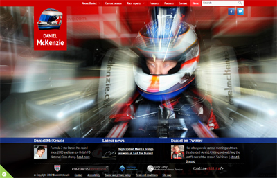 Screenshot of Daniel McKenzie's website showing the front page with motion blur effect